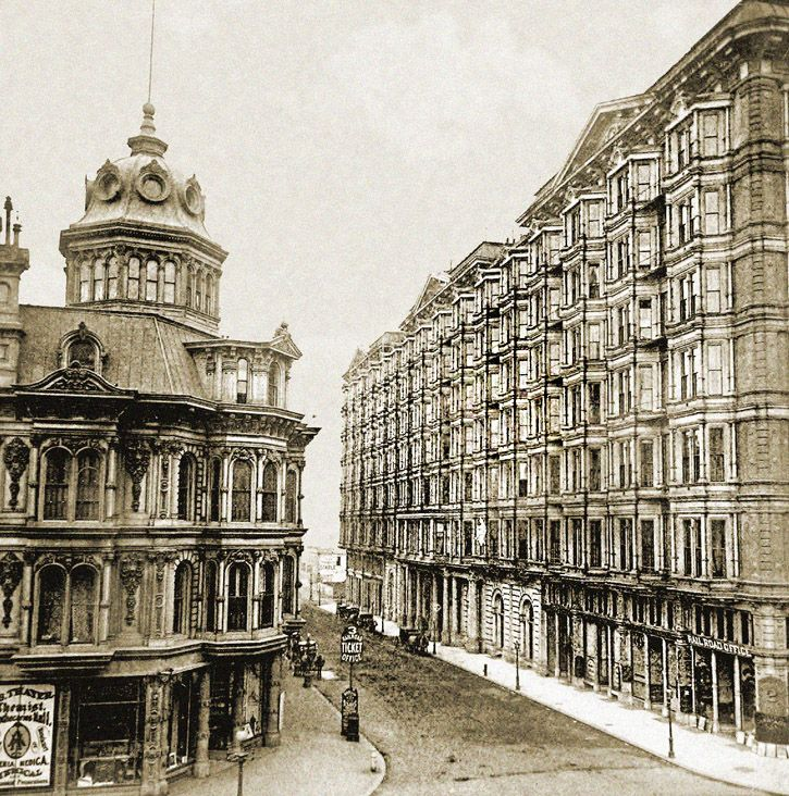 Grand & Palace Hotels, San Francisco (ca. 1880s) Looking South down New Montgomery Street with the Grand Hotel on the left and Palace Hotel on the right. A covered walkway was eventually built over the street connecting the two hotels' second floors.