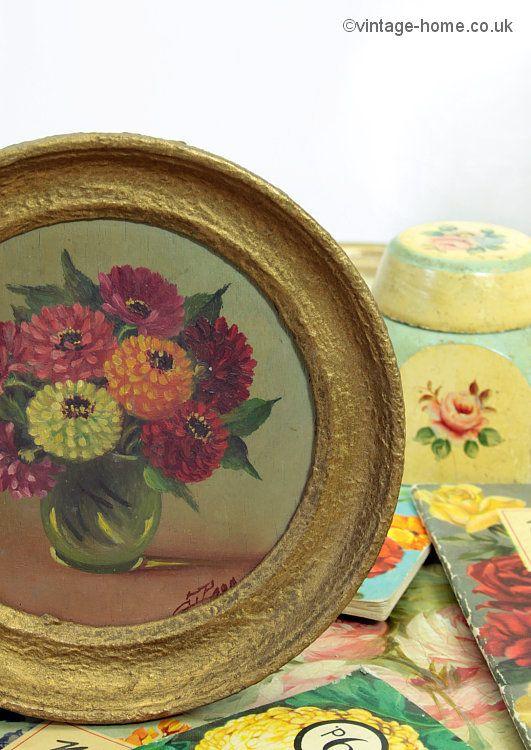 Vintage Home Shop - Miniature 1930s Oil Painting of Zinnias / Dahlias: www.vintage-home.co.uk