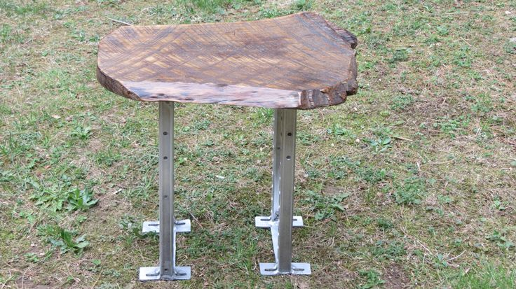 Custom HandCrafted Salvage Recycled Welded Aluminum Legs With Live Edge Slab Top Side Table by SalvageDreams on Etsy https://www.etsy.com/listing/192467922/custom-handcrafted-salvage-recycled