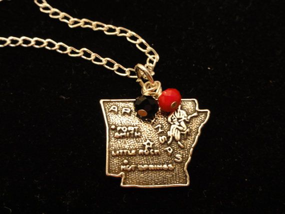 Arkansas State Red Wolves Sterling Silver Map by DaisygatorDesigns, $25.00