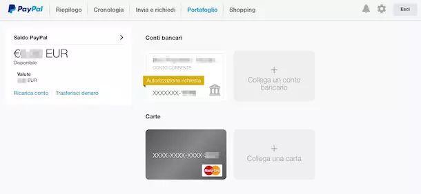 Screenshot che mostra come ricaricare Postepay dal sito PayPal
