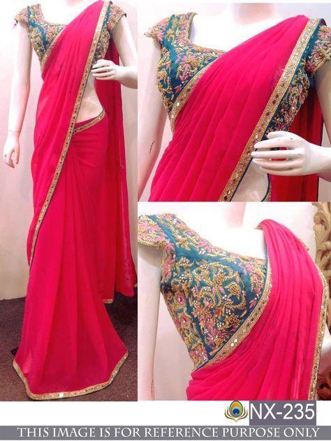 777bd07cfc120 Bollywood Designer Party Wear Pink Color Heavy Blouse Designer Georgette  Saree