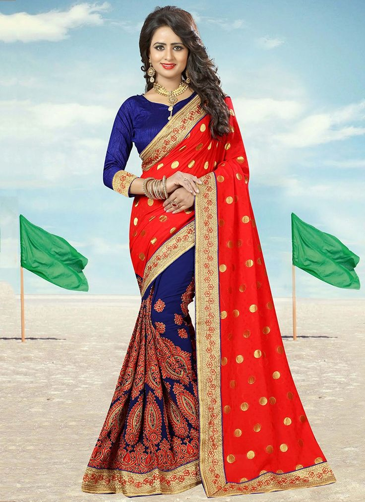Red Heavy Embroidered Georgette Saree
