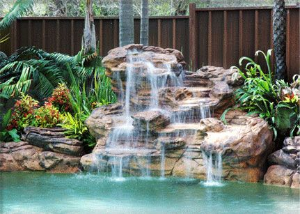 1000 ideas about pool waterfall on pinterest pools for Artificial waterfalls design
