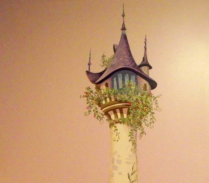 """Wall Mural for a girl's bedroom;  inspired by Disney's® Movie, """"Tangled""""  depicting Rapunzel's tower.      Close-up detail of the top of..."""