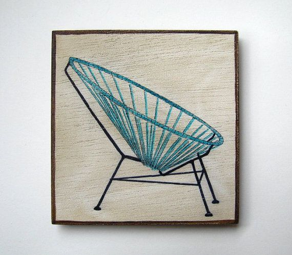 Vintage Acapulco style chair  Original painting on by Lunartics, €20.00