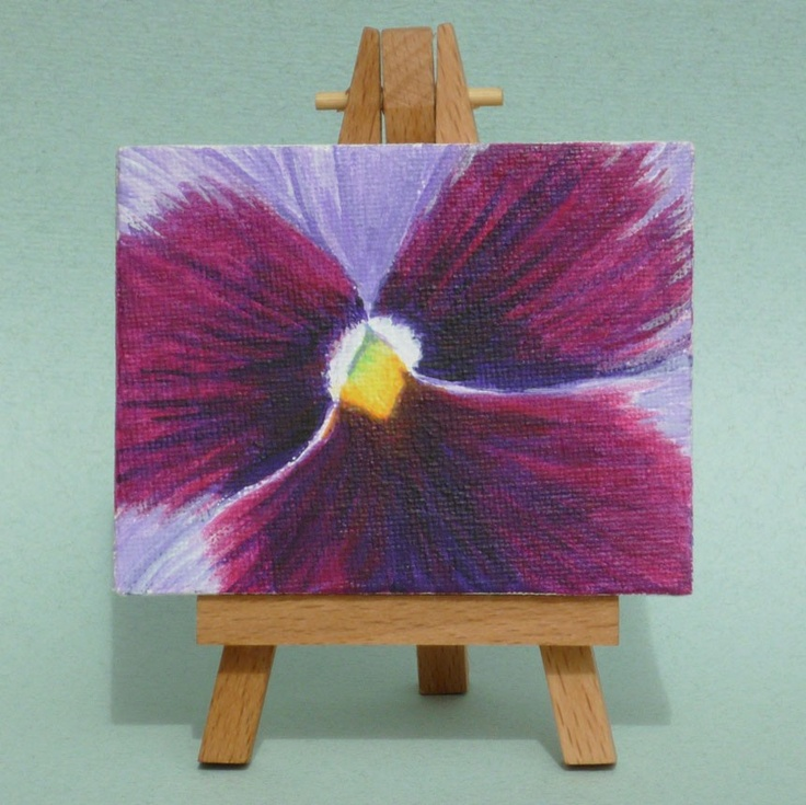 Original Painting Pansy Tiny Acrylic Canvas And Easel Miniature