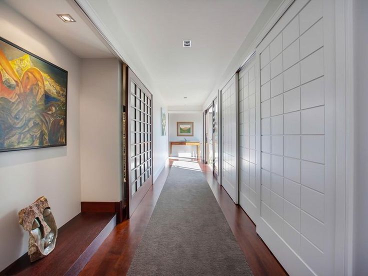Contemporary Hill Home With Beautiful Gardens And Pool : Hallway Design  Interior Among White Wall Decor