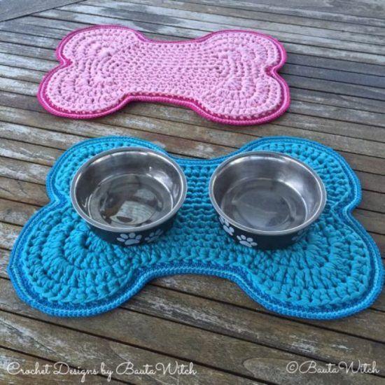 Crochet Dog Bowl Mat Pattern Free Tutorial Bone Shaped Design