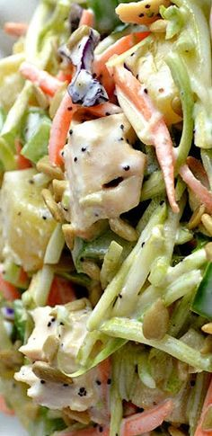 Crunchy Poppyseed Chicken Salad - just need to find a healthy poppyseed dressing recipe.