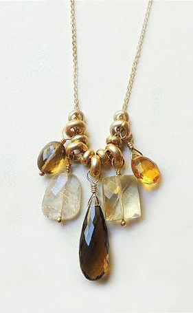 ❥ Provo Necklace with Whisky Topaz Rutilated Quartz~ beautiful way to hang gems