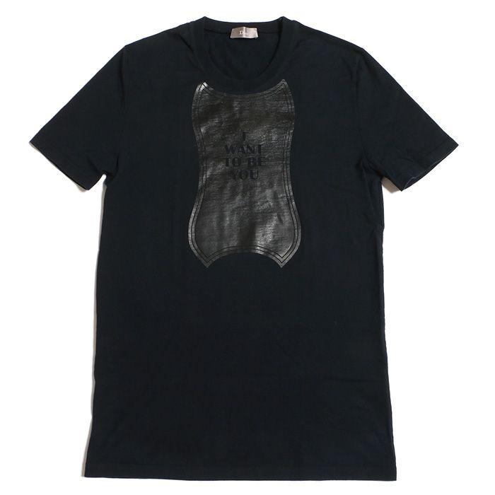 ディオール オム Tシャツ XS ネイビー 紺 カットソー メンズ 男性 半袖 上質 綿 プリント ダーツ レディース 女性 Dior Homme 717091302h_画像1
