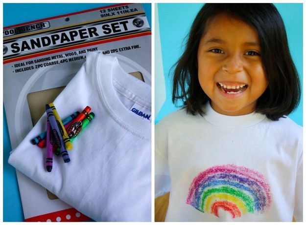 Crayons and sandpaper are all your kids need to add their own design to a white T-shirt.