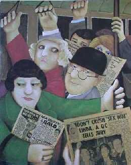 "Beryl Cook (British, 1926–2008) ""Togetherness"", oil/panel, newspaper collage c.1976"