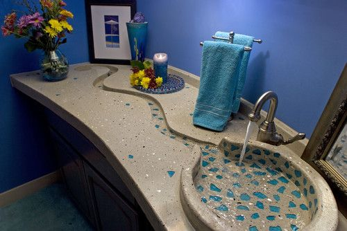 Concrete Bath Sinks modern bathroom counter-tops with sea glass. Wow. What an amazing idea!!