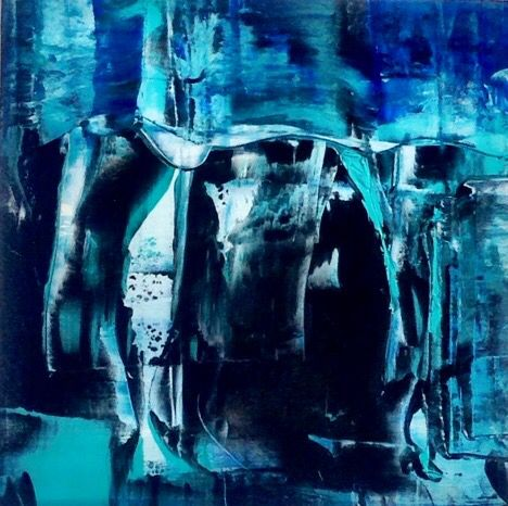 SOLD. Essouiria Blue A painting by Maggy HJ, one of a series from Morocco. (Sold)
