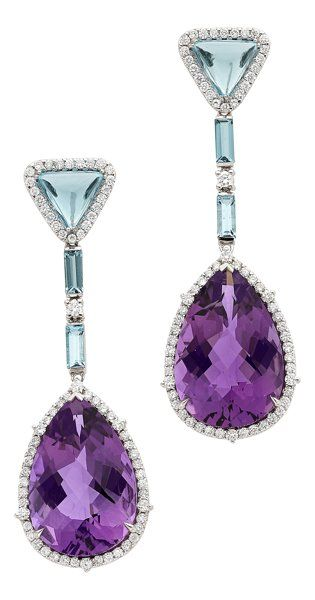Multi-Stone, Diamond, White Gold Earrings, by Eli Frei.