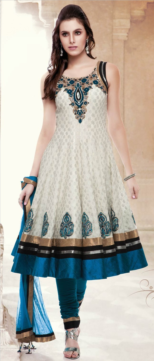 Off #White Chanderi Art #Silk Readymade Churidar Kameez @ $176.00