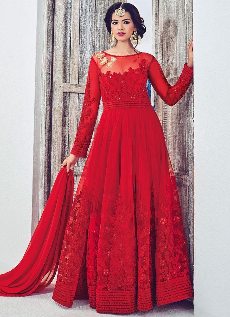 Prodigious Resham Work Georgette Red Designer Floor Length Salwar Suit