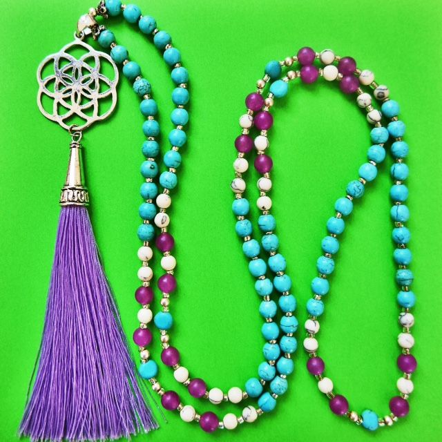 I've called this Mala after my gorgeous daughter Matilda, she embodies the qualities of these magical stones with her grace, kindness & gentle communication. Wear the combination of lavender jade & turquoise to bring about abundance through attracting the sky energy to earth. To bring about relief from stress, assist with open communication through association with the throat chakra. Or you can always wear it just because it's so PRETTY! http://misssallysmith.com/?page_id=693