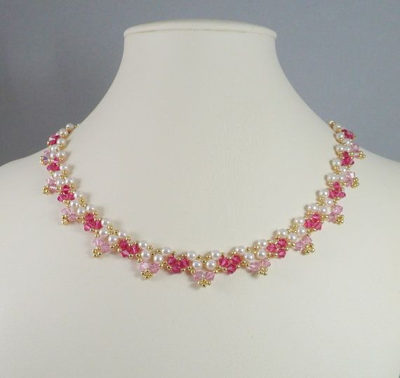 Necklace Woven Pearl and Swarovski Crystal Rosy by IndulgedGirl