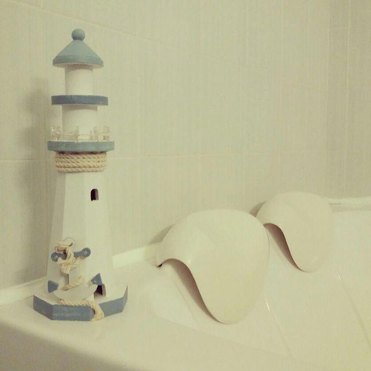 Faro, decorazione shabby, bagno tema mare