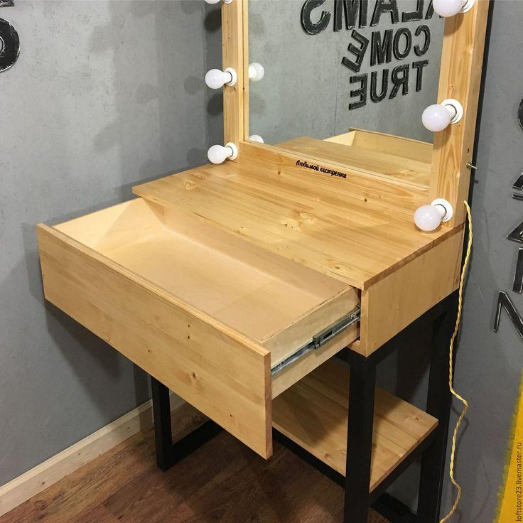 Купить Гримерное зеркало и стол FLORIDA - оранжевый, стол, стол на металле, Стол из массива