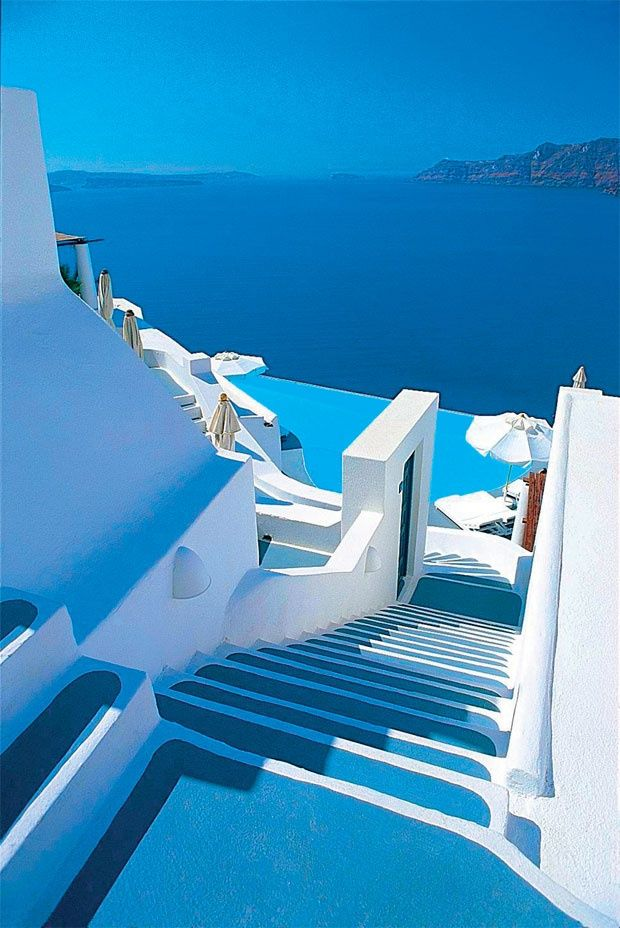 Shades of blue in Santorini , Greece