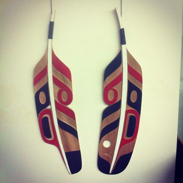 Finished Thunderbird feathers #supernatural #heiltsuk #thunderbirdfeathers #cedar #carving #art