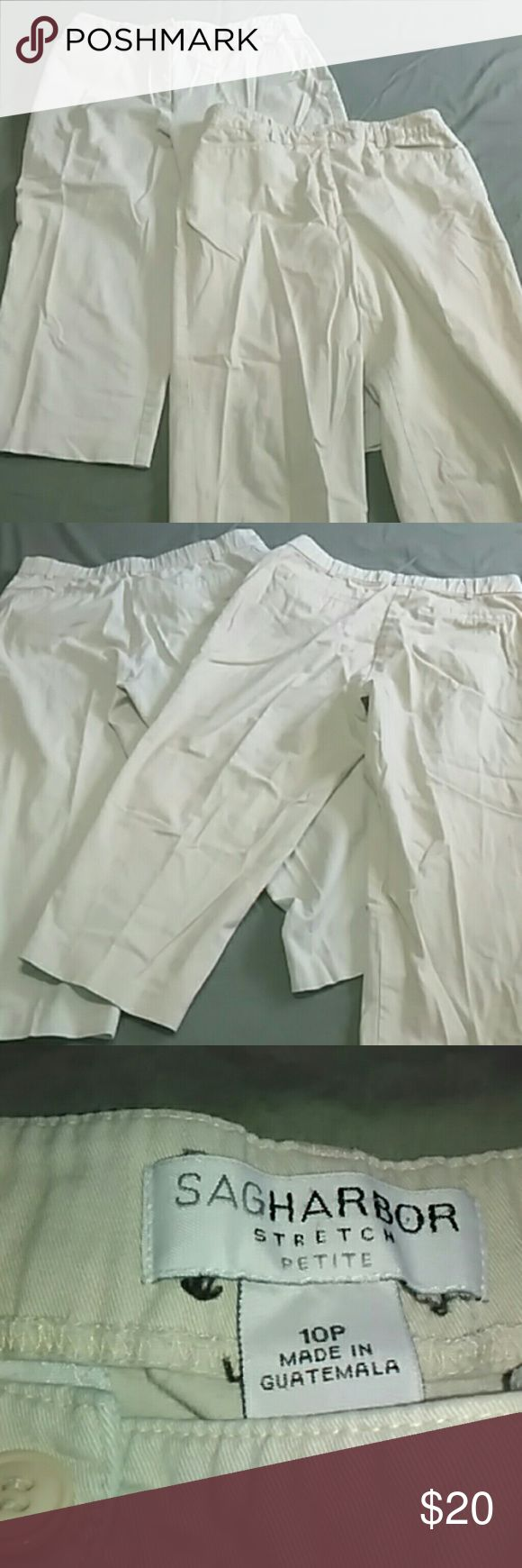 Set of 2 Khaki Capri Pants Set of 2 khaki colored capri pants. 1 by Sag Harbor stretch petite size 10 p and made of 97% cotton and 3% spandex. The other Kim Rogers petite size 10 P made of 97% cotton and 3% spandex. Both have a 10 and a half inch rise and a 20 inch inseam. Both have pockets and belt loops. Sag Harbor & Kim Rogers Pants Capris