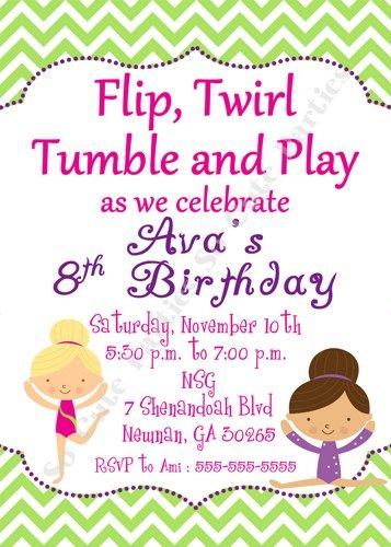 Gymnastics Birthday Party Invite Hot Pink Lime Purple Cheveron | socuteparties - Childrens on ArtFire