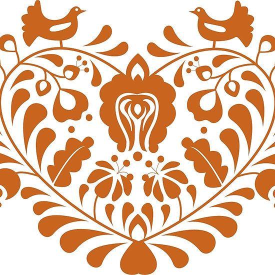 Heart shaped floral folk motif