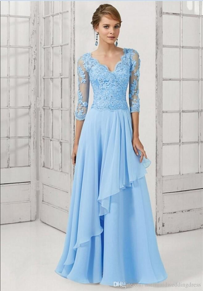 Blue Evening Dresses 2017 Fashion V-Neck Fifth Sleeve Crystal Applique Formal Evening Gowns Chiffon Long Dress Party Elegant