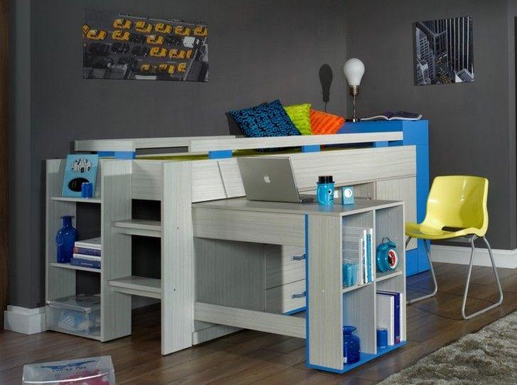 Komi ágy Magas galériaágy kihúzható íróasztallal