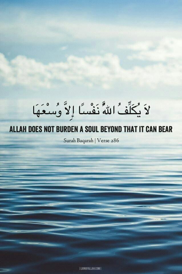 """Allah does not burden a soul beyond that it can bear."" Surah Baqarah Verse 286"