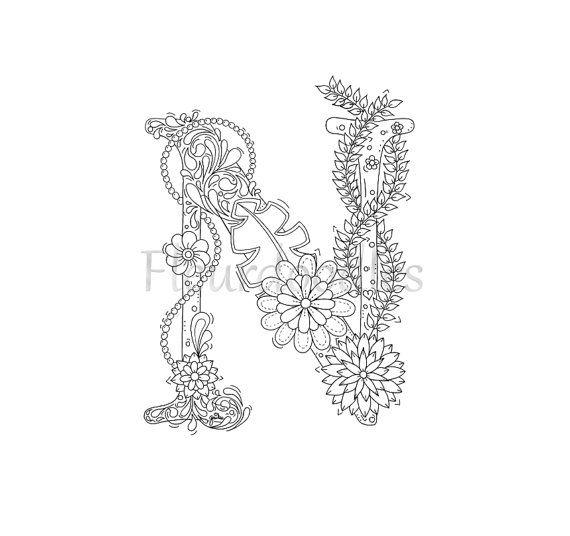 adult coloring page  floral letters alphabet N by Fleurdoodles