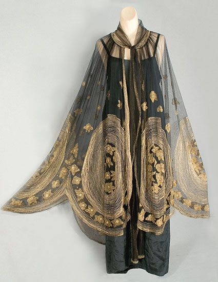 1920s art deco metallic embroidered cape