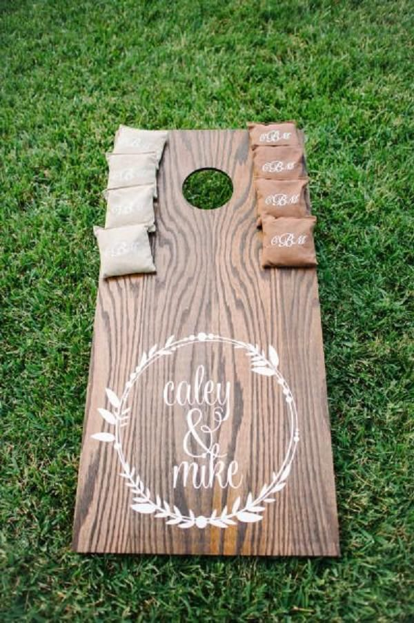 Diy Backyard Wedding Ideas 01 backyard wedding reception setup Customized Cornhole For Rustic Backyard Wedding