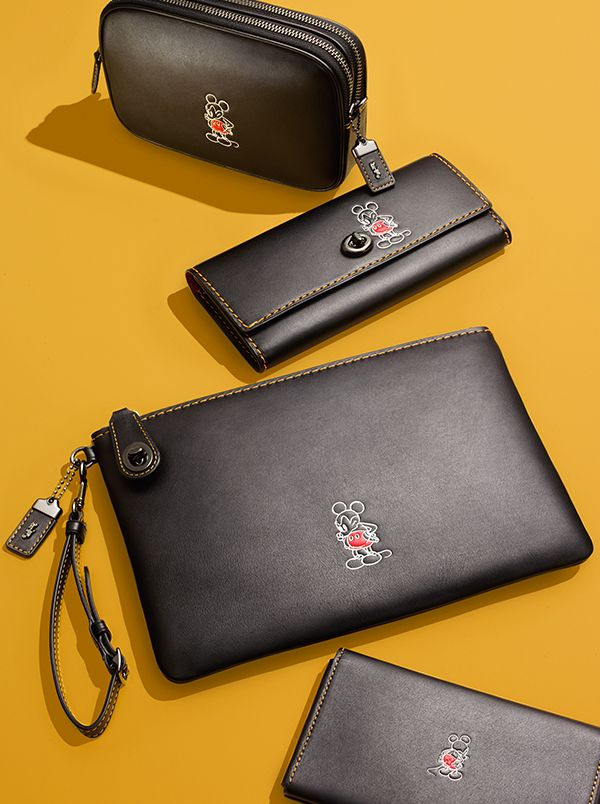 Gorgeous Disney x Coach leather pieces featuring Mickey Mouse