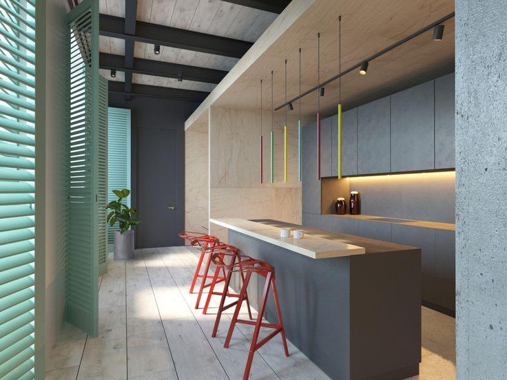Фото из статьи: Лофт по-питерски: кирпич, фанера, ставни, зеркальная стена и красные стулья