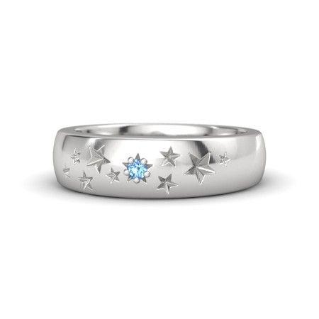 Sterling Silver Ring with Blue Topaz | Supernova Band | Gemvara