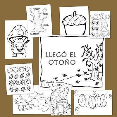 Recursos educativos: Dibujos para colorear de otoño Dibujos y fichas para colorear con motivos otoñales, frutos, arboles, hojas, vestimenta de otoño. Todo