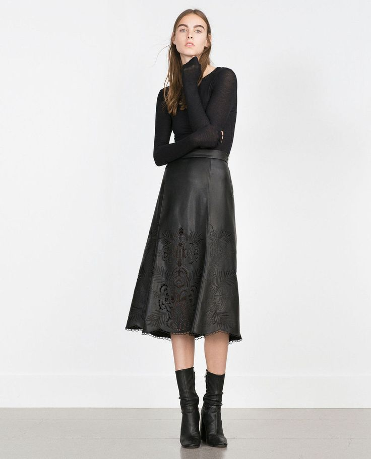 zara black faux leather embroidered midi skirt beautiful