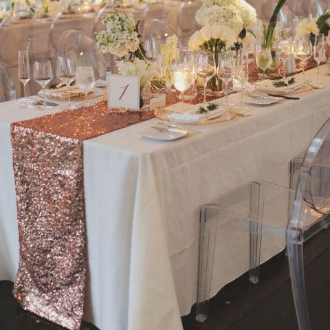 Rose Gold Sequin Table Runner This listing is for 1 table runner. Please choose size from the dropbox. Color is Blush rose gold Material: Mesh Sequins Please Note unlike other seller our sequin tablec