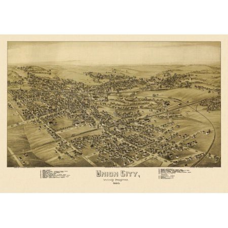 Old Map of Union City Pennsylvania 1895 Erie County Canvas Art - (18 x 24)