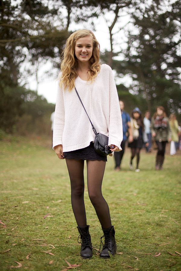 drapey sweater over a tight skirt