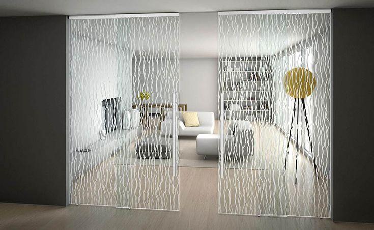 раздвижные стеклянные двери с узором