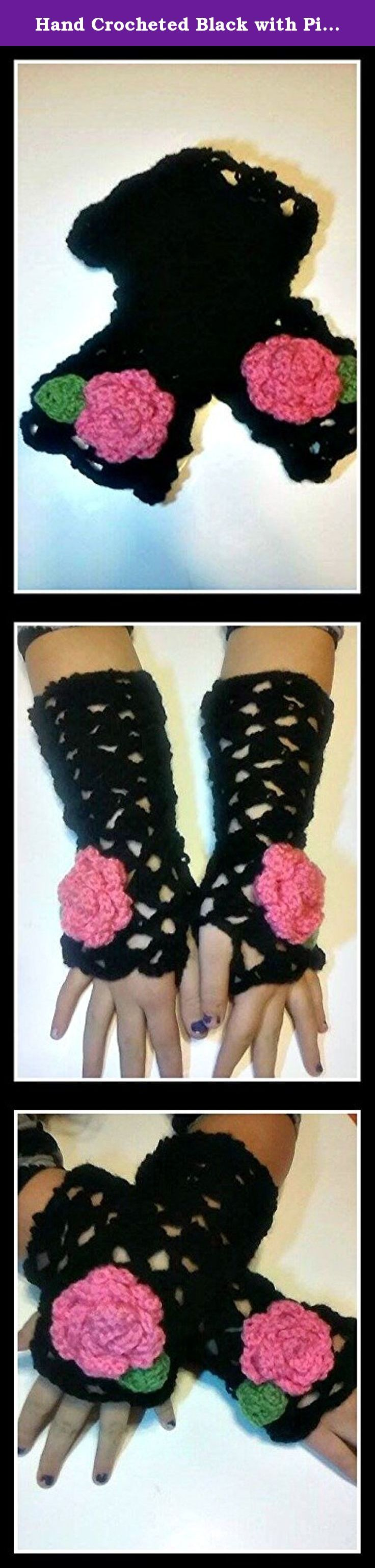 Hand Crocheted Black with Pink Rose Fingerless Mittens, Victorian Fingerless Gloves Hand Warmers. Fingerless Victorian lace mittens are crochet with black yarn and a pink rose attached. Mittens are 10 inches in length and are handmade using black and pink acrylic yarn. Easily cleaned, just hand wash and lay flat to dry. Prefect for spring, fall and winter. Fingerless mittens can be made in all sizes and colors, please feel free to email me with any questions you may have. All of our items...