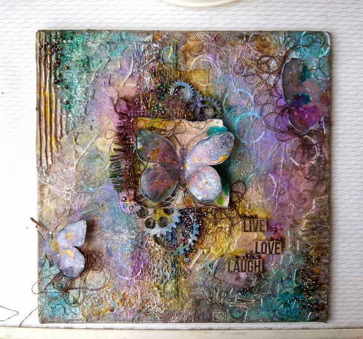 73 best mixed media canvas butterflies birds images on for Mixed media canvas art ideas
