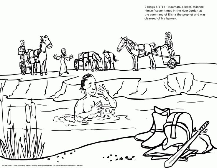 2 Kings Naaman Coloring Page Cleansed From Leprosy By Bathing In The River Jordan